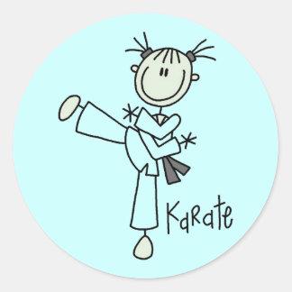 Camisetas y regalos del chica del karate pegatina redonda