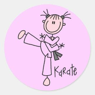 Camisetas y regalos del chica del karate pegatinas redondas