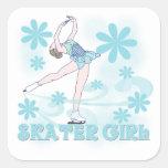 Camisetas y regalos del chica del patinador pegatina cuadradas personalizada