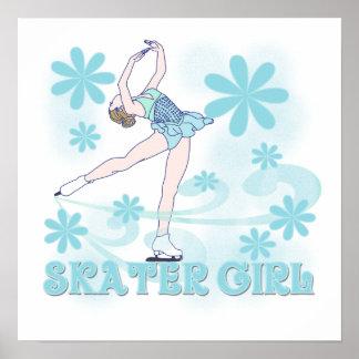 Camisetas y regalos del chica del patinador póster