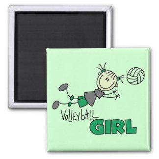 Camisetas y regalos del chica del voleibol imán cuadrado