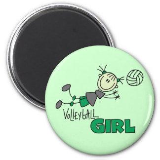 Camisetas y regalos del chica del voleibol imán redondo 5 cm