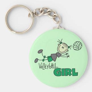 Camisetas y regalos del chica del voleibol llavero redondo tipo pin