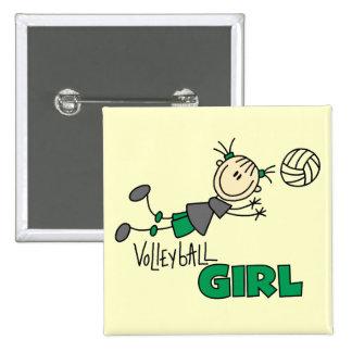 Camisetas y regalos del chica del voleibol pin cuadrado