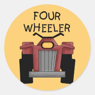 Camisetas y regalos del coche de cuatro ruedas etiquetas redondas
