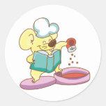 Camisetas y regalos del cocinero del ratón pegatinas redondas