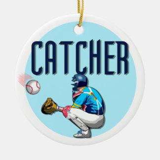 Camisetas y regalos del colector del béisbol adorno navideño redondo de cerámica