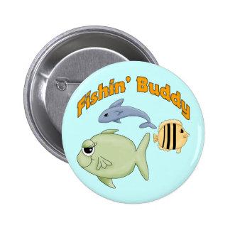 Camisetas y regalos del compinche de la pesca pin redondo 5 cm