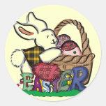 Camisetas y regalos del conejito de pascua pegatina redonda
