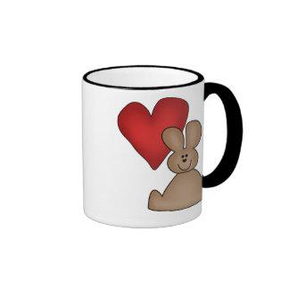 Camisetas y regalos del conejito del amor taza de dos colores