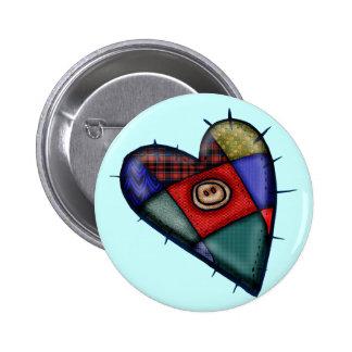 Camisetas y regalos del corazón del remiendo pin redondo de 2 pulgadas