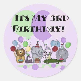 Camisetas y regalos del cumpleaños de los animales pegatina redonda