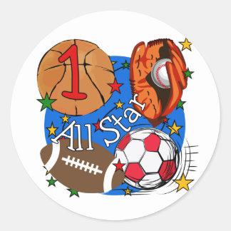 Camisetas y regalos del cumpleaños de los deportes pegatinas redondas