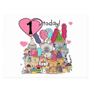 Camisetas y regalos del cumpleaños de los gatitos postal