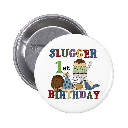 Camisetas y regalos del cumpleaños del bateador de pin redondo 5 cm