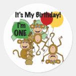 Camisetas y regalos del cumpleaños del brillo del pegatina redonda