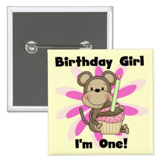 Camisetas y regalos del cumpleaños del chica del m pin cuadrada 5 cm