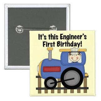 Camisetas y regalos del cumpleaños del ingeniero d pin cuadrada 5 cm