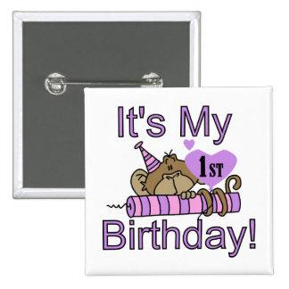 Camisetas y regalos del cumpleaños del mono del ch pin cuadrada 5 cm