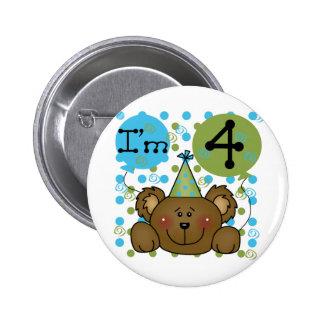 Camisetas y regalos del cumpleaños del oso de pin redondo de 2 pulgadas
