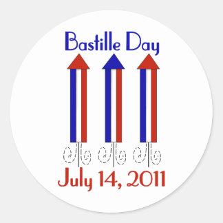 Camisetas y regalos del día de Bastille para los Pegatina Redonda
