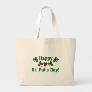 Camisetas y regalos del día del St. Pat feliz Bolsa Tela Grande