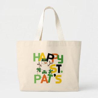 Camisetas y regalos del día del St. Pat feliz del  Bolsa Tela Grande