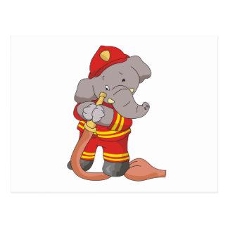 Camisetas y regalos del elefante del bombero postales