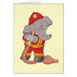 Camisetas y regalos del elefante del bombero tarjetón