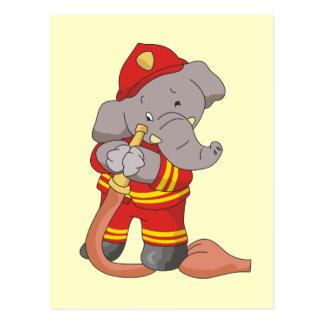 Camisetas y regalos del elefante del bombero tarjetas postales