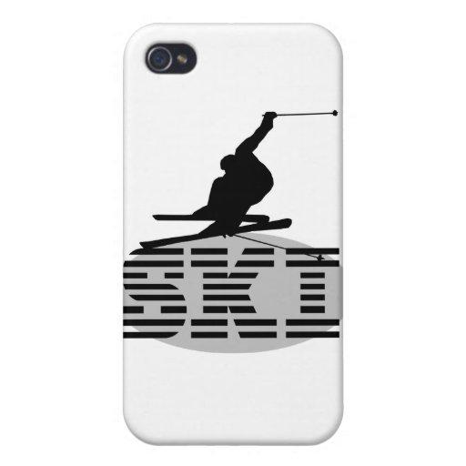 Camisetas y regalos del esquí de la silueta iPhone 4/4S funda