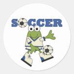 Camisetas y regalos del fútbol de la rana pegatina redonda