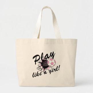Camisetas y regalos del fútbol de las muchachas bolsas lienzo