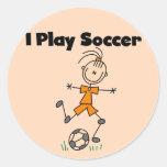 Camisetas y regalos del fútbol del juego del chica pegatinas redondas