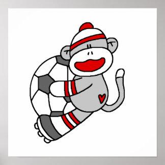 Camisetas y regalos del fútbol del mono del calcet póster