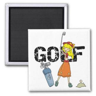 Camisetas y regalos del golfista del chica imán cuadrado