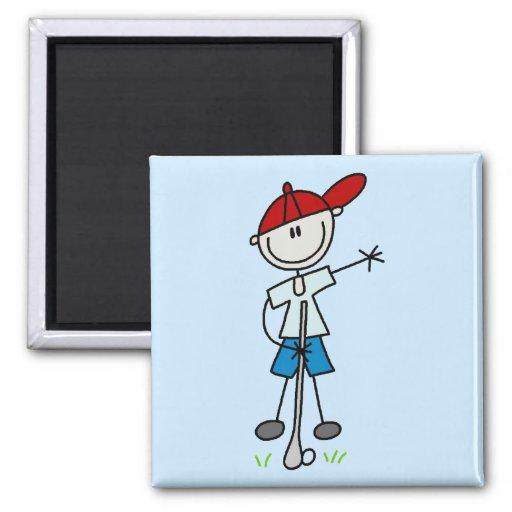 Camisetas y regalos del golfista del muchacho iman para frigorífico