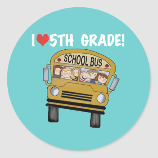 Camisetas y regalos del grado del amor del autobús pegatina redonda