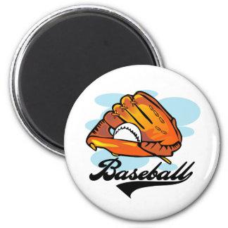 Camisetas y regalos del guante de béisbol imán redondo 5 cm