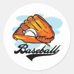 Camisetas y regalos del guante de béisbol pegatinas redondas