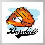 Camisetas y regalos del guante de béisbol poster