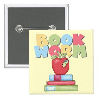 Camisetas y regalos del gusano de libro pin cuadrado