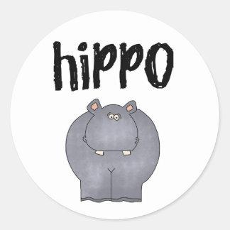 Camisetas y regalos del hipopótamo pegatina redonda