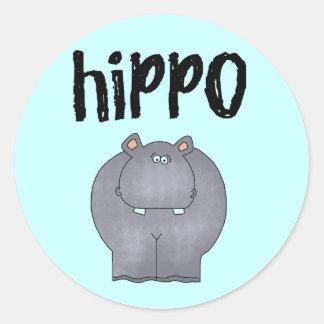 Camisetas y regalos del hipopótamo etiquetas redondas