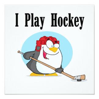 """Camisetas y regalos del hockey del pingüino invitación 5.25"""" x 5.25"""""""