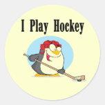Camisetas y regalos del hockey del pingüino pegatinas redondas