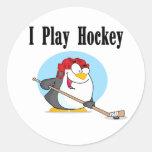 Camisetas y regalos del hockey del pingüino pegatina redonda