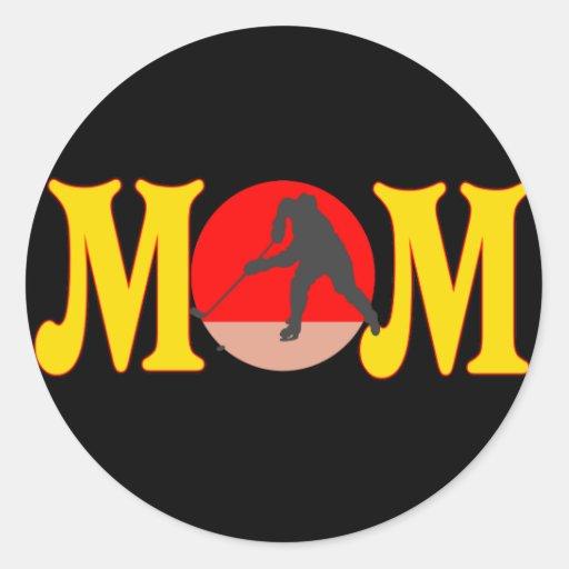 Camisetas y regalos del hockey para la mamá pegatina redonda