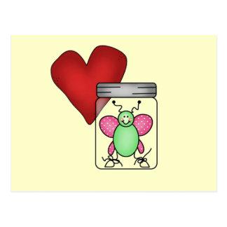 Camisetas y regalos del insecto del amor tarjetas postales