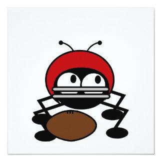 """Camisetas y regalos del insecto del fútbol invitación 5.25"""" x 5.25"""""""